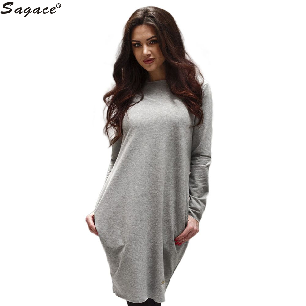 Modern dress casual - Modern Casual Autumn Winter Solid Bottoming Loose Mini Dress Women Party Evening Office Lady Long Sleeve