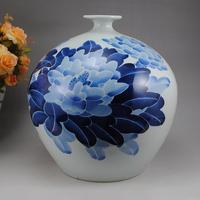 Jingdezhen ceramic ware blue and white glaze color hand painted peony vase pomegranate living room home furnishing gifts