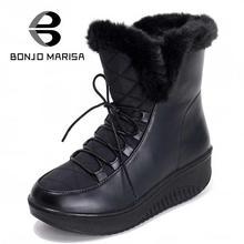 BONJOMARISA New Arrivals Snow Boots Women Winter Shoes Waterproof Lace Up Platform Shoes With Fur Short Ankle Fur Boots Woman