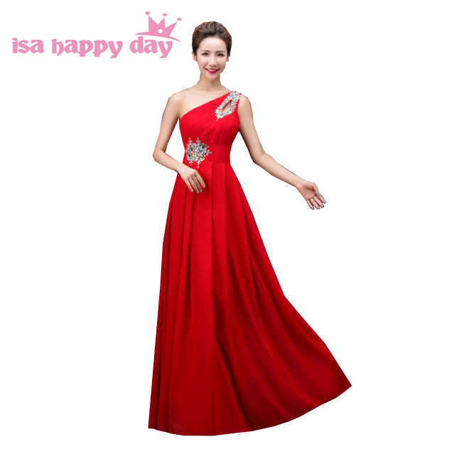 red champagne party gown women one shoulder long greek goddess   bridesmaid     dress   gowns under 100 for formal wedding guests H3754