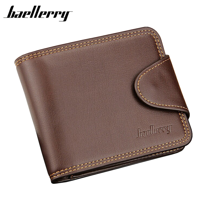 Baellerry 2017 New Men Wallets Short  Man PU Leather Famous Brand With Coin Pocket Solid color Hasp Gray Black wallet Business baellerry business black purse soft light pu leather wallets large capity man s luxury brand wallet baellerry hot brand sale