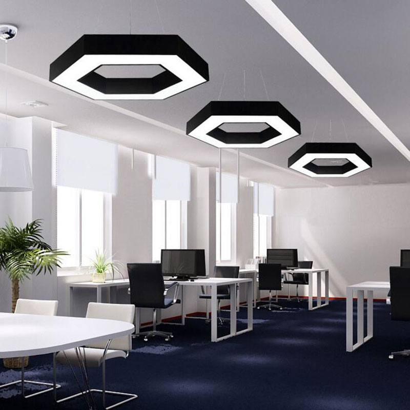 LED hollow hexagonal hanging lamp simple shaped office chandeliers 6 hexagonal office lights hexagonal chandeliers led lighting накладки порогов rival для hyundai solaris 2017 н в нерж сталь с надписью 4 шт np 2312 3