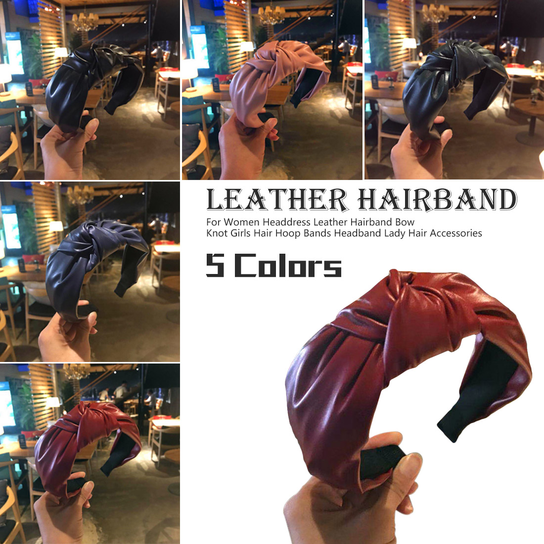 Korean Fashion Leather Hairband Bow Knot Headband Lady Girls Concise Style Hair Hoop Bands Hair Accessories For Women Headdress in Women 39 s Hair Accessories from Apparel Accessories