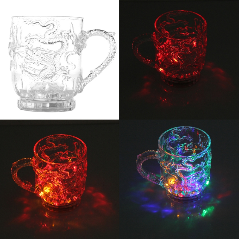 Glasses Beer Cup Dragon LED Inductive Rainbow Color Flashing Light Glow Mugs