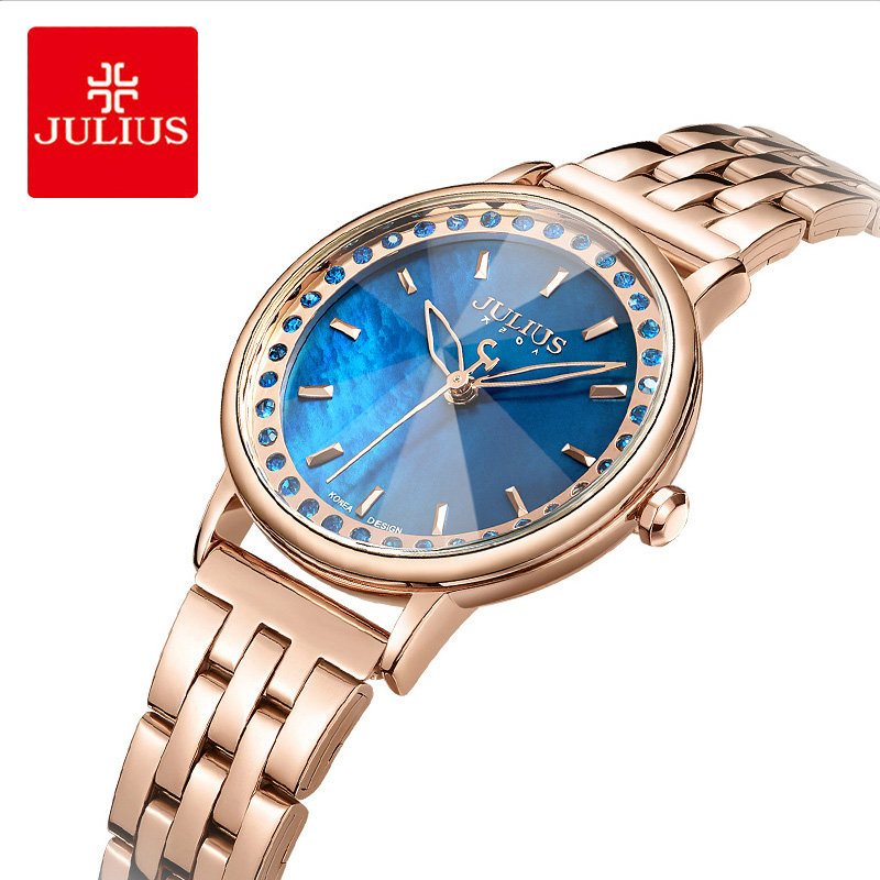 Julius Brand Stainless Steel Bracelet Watch Woman Luxury Blue Crystal Dial Dress Wristwatch Relogio Quartz Watches For GirlJulius Brand Stainless Steel Bracelet Watch Woman Luxury Blue Crystal Dial Dress Wristwatch Relogio Quartz Watches For Girl