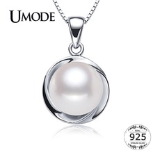 ASQUEEN 925 Sterling Silver Natural Pearl Pendant Necklaces For Womens Jewelry With 9-10mm Genuine Freshwater Pearls AN0001