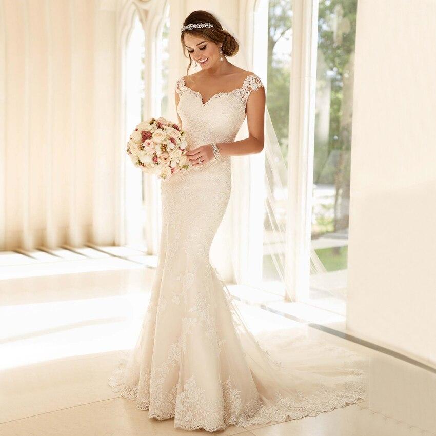 2017 romántico de encaje sexy v cuello blanco de la sirena vestido de novia vnai