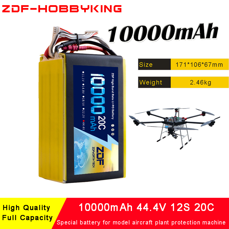 ZDF 12S 44.4V 10000mah 20C Max 40C Special lipo battery for model aircraft plant protection machine Quadcopter Airplane drone