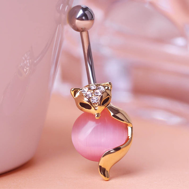 Us 11 85 Wholesale Price Steel Navel Piercing Lot Collar Fox Body Jewelry Womens Sexy Belly Button Rings Noble Gold Percing Pircing Ouro In Body
