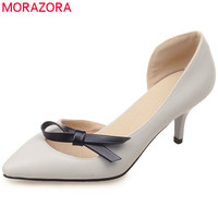 MORAZORA 2018 Hot Sale Pumps Women Shoes Pointed Toe Elegant Party Wedding Shoes Bowknot Shallow Summer