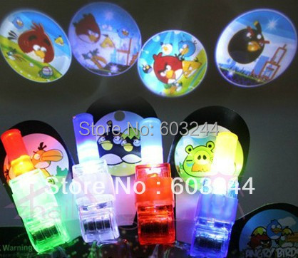 Free Ship 100pcs Cartoon LED Projector Lamp LED Laser Finger Light Beams Ring Torch Christmas Party Disco Glow Christmas Gift