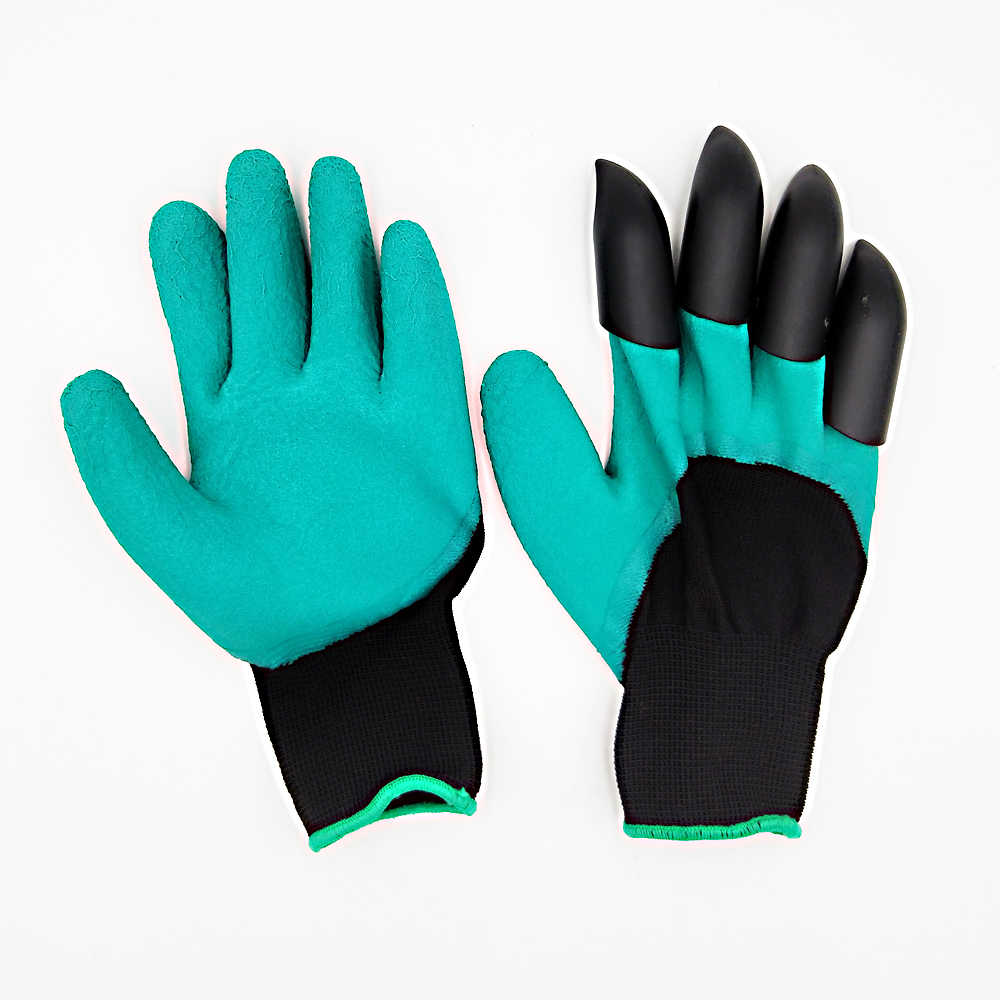 1Pair Rubber Polyester Builders garden Genie Gloves Glove 4 ABS Plastic Hand Claws High Quality Garden Gloves With Plastic Claws