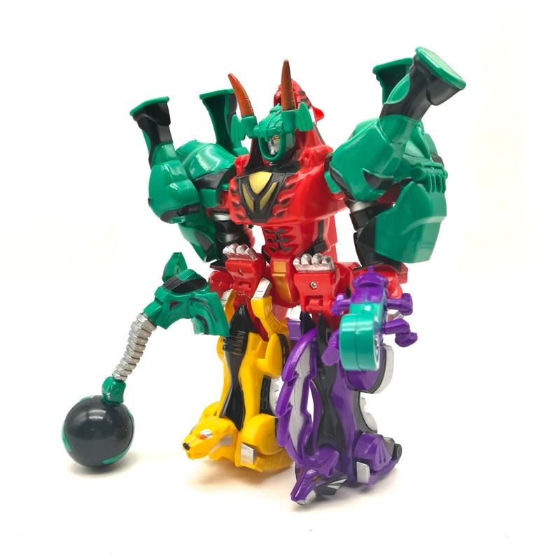Deformação brinquedos 5 em 1 dinossauro rangers megazord montagem robô figuras de ação crianças presentes aniversário montado dinozords