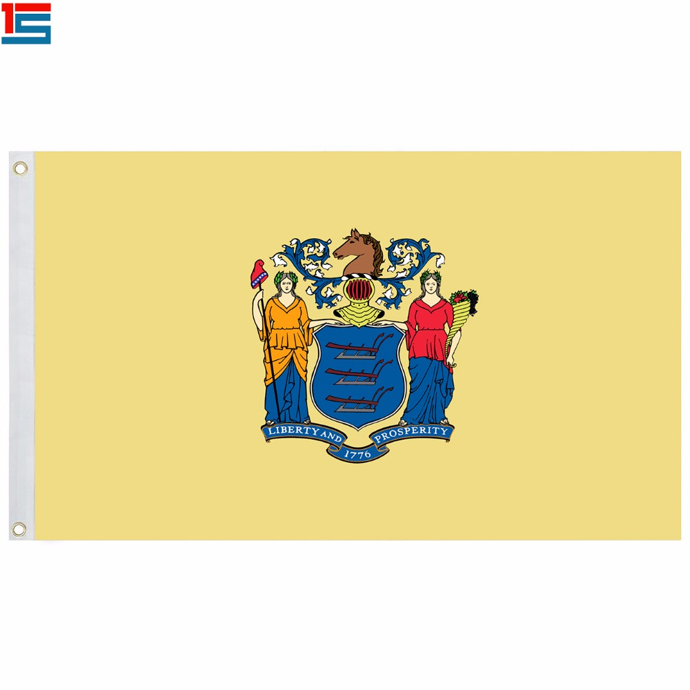 2018 New Arrival The US New Jersey state flag Polyester Flag 5*3 FT High Quality Banner
