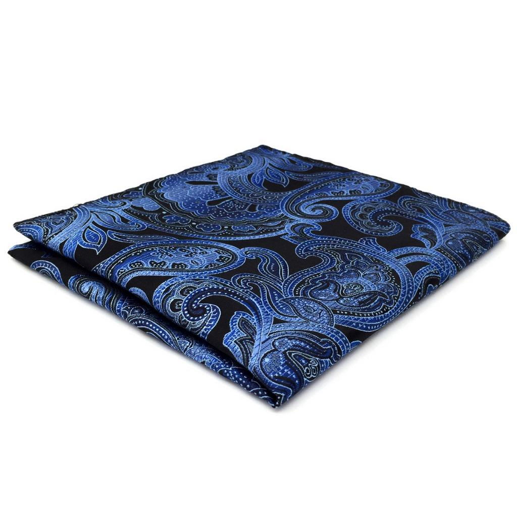 CH23 Paisley Mens Pocket Square Blue Silk Jacquard Woven Wedding Fashion Colorful Classic Handkerchief
