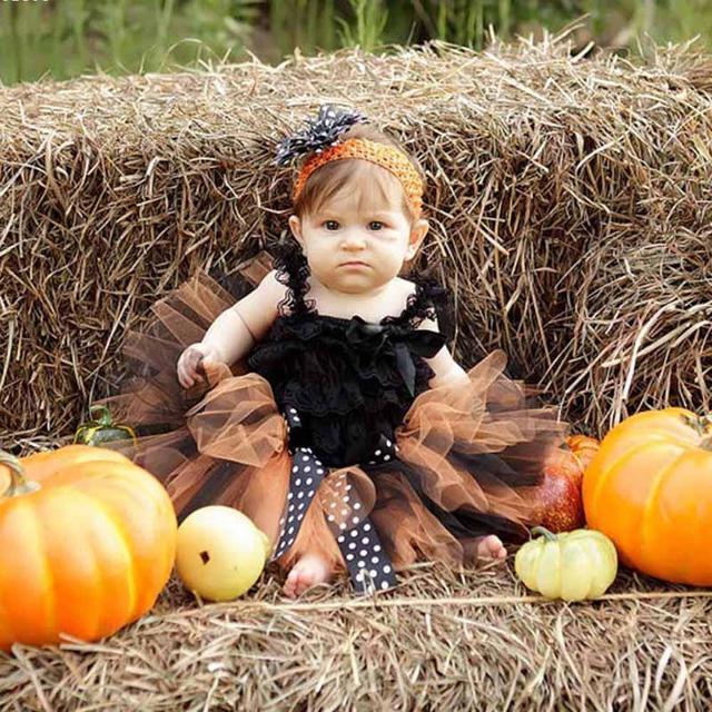 Baby Princess Girls Skirts gift creative Halloween Costume Baby Girls Skirts Orange and Black Tutu Skirt Kids Baby Party D45