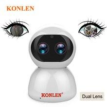 KONLEN PTZ IP 카메라 와이파이 듀얼 렌즈 2MP 자동 추적 줌 1080P HD 실내 홈 애완 동물 CCTV 보안 클라우드 IR 스마트 ipcam 무선