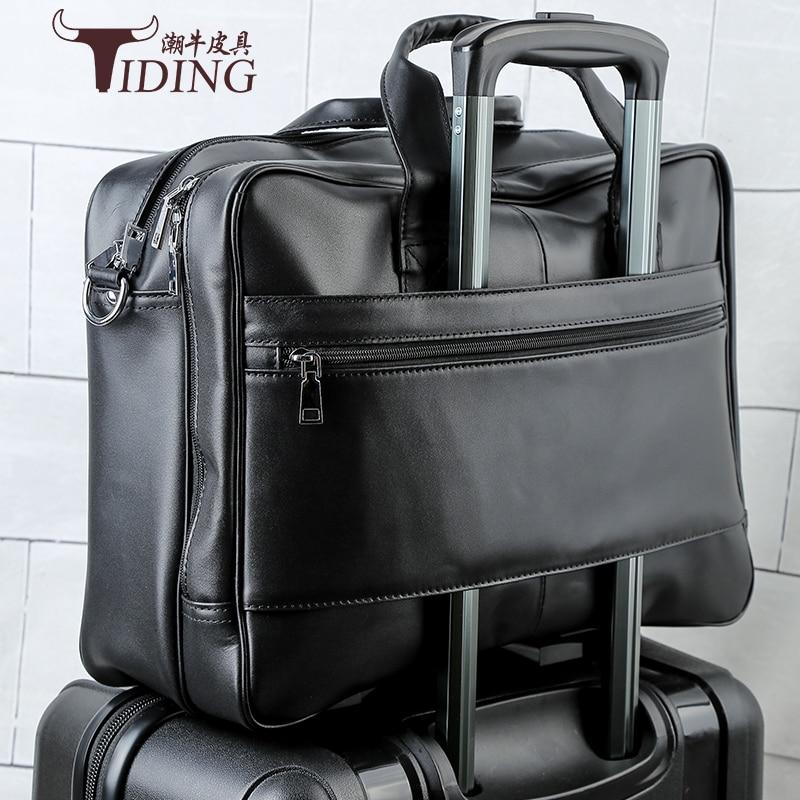 Genuine Leather Men Bags Fashion Man Crossbody Shoulder 17 laptop Handbag Men Messenger Bags Male Briefcase Men's Travel Bag  - buy with discount