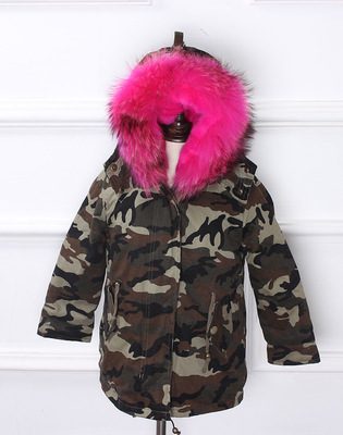 Army Green Coat Fur Jacket Girls Winter Clothes Rabbit Fur Kids Parkas Real Raccoon Fur Hooded Children Jacket For Girls TZ90