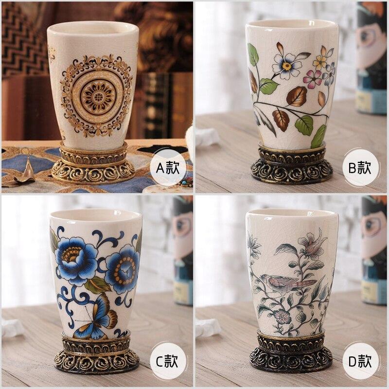 Amateurs ronds en céramique de style européen haut de gamme, coupe de bain de bouche, tasse de brosse à dents séparée à la maison, Kit de lavage simple de salle de bains