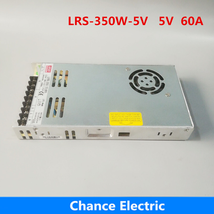 Original MEAN WELL LRS-350-5 350W 60A 5V output Meanwell Switch mode Power Supply 5V SMPS ac to dc original mean well lrs 350 15 350w 15v 23 2a output meanwell switch mode led power supply