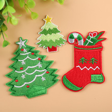 12pcs/lot Christmas series patches iron on cloth stickers DIY badges embroidered Santa Claus tree for clothes