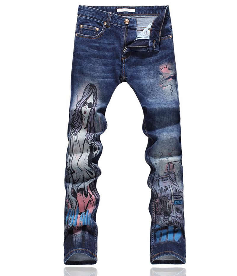 Hot sale men belle print jeans fashion skinny pencil trousers hot sale new arrival men cutout jeans fashion embroidery pencil trousers