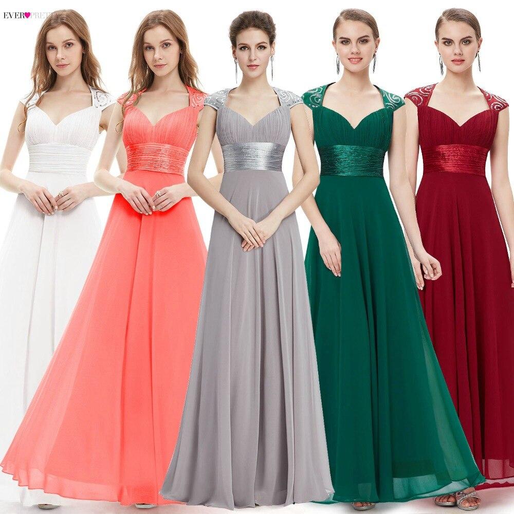 Aftonklänning Röd färg Ever-Pretty EP09672 Sexiga V Neck Sequins Chiffon Summer A Line 2018 Formell Lång Kvinnlig Festklänning