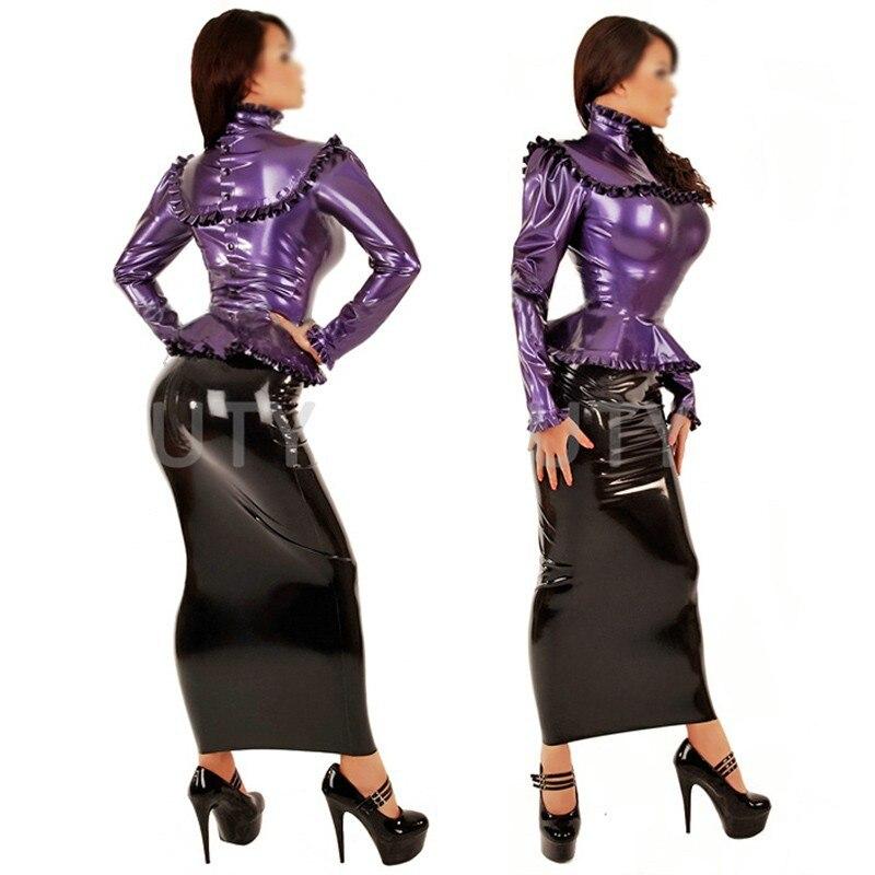 Латексные костюмы блузка для женщин Фетиш экзотика Танк жабо сексуальные размера плюс Кастомизация натуральный ручной работы
