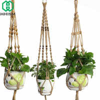 WHISM Hanging Basket Rope Macrame Plant Hanger Planter Holder Vintage Knot Flower Basket Display Garden Flower Pot Lifting Ropes