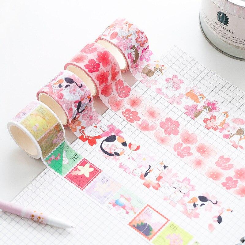 Novelty Sakura Shiba Cat Washi Tape DIY Scrapbooking Sticker Label Masking Tape School Office Supply Gift Stationery