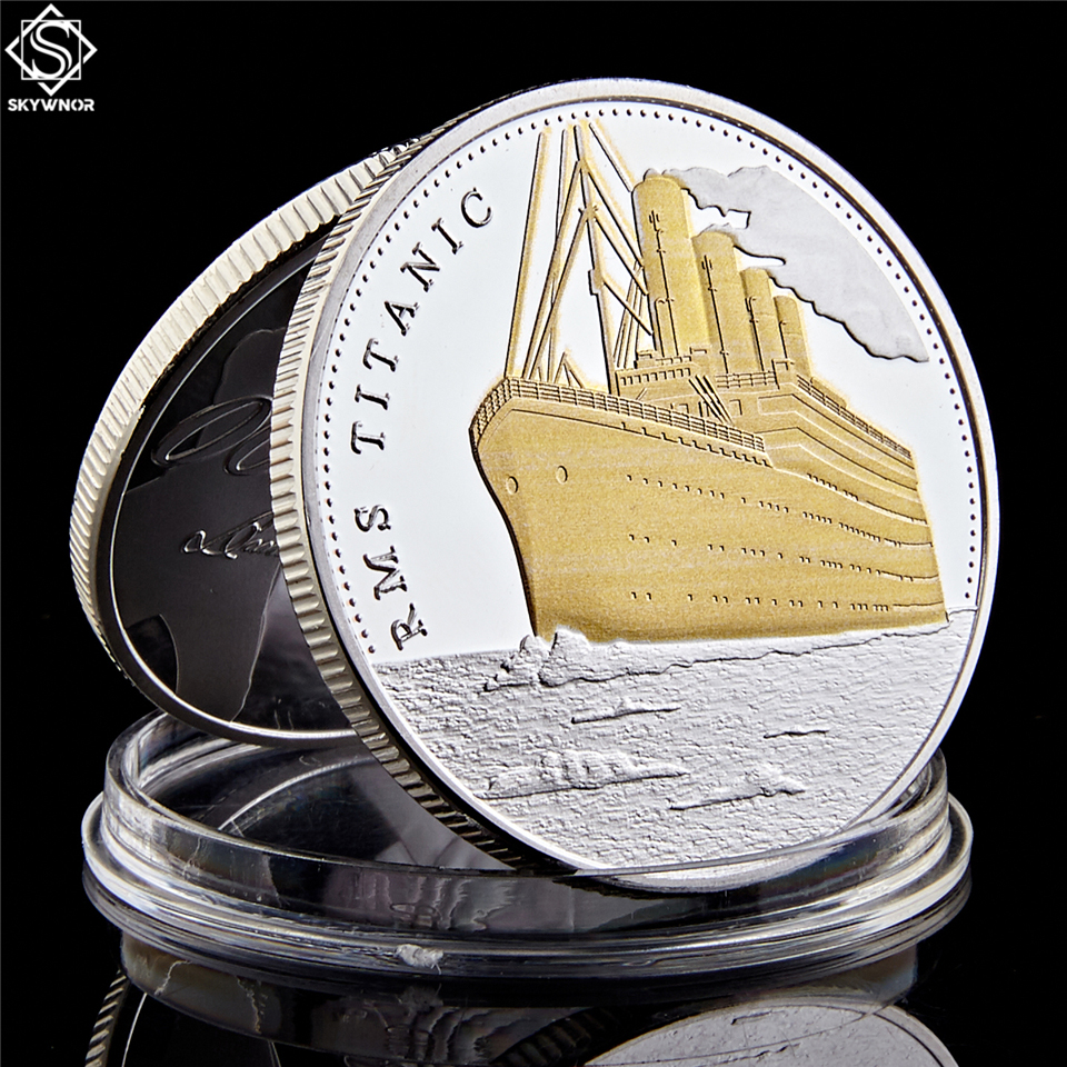 1912 путешествие Титаник корабль и карта путешествия позолоченная & одетая монета Rms Золотой памятный бар/монета из Титаника
