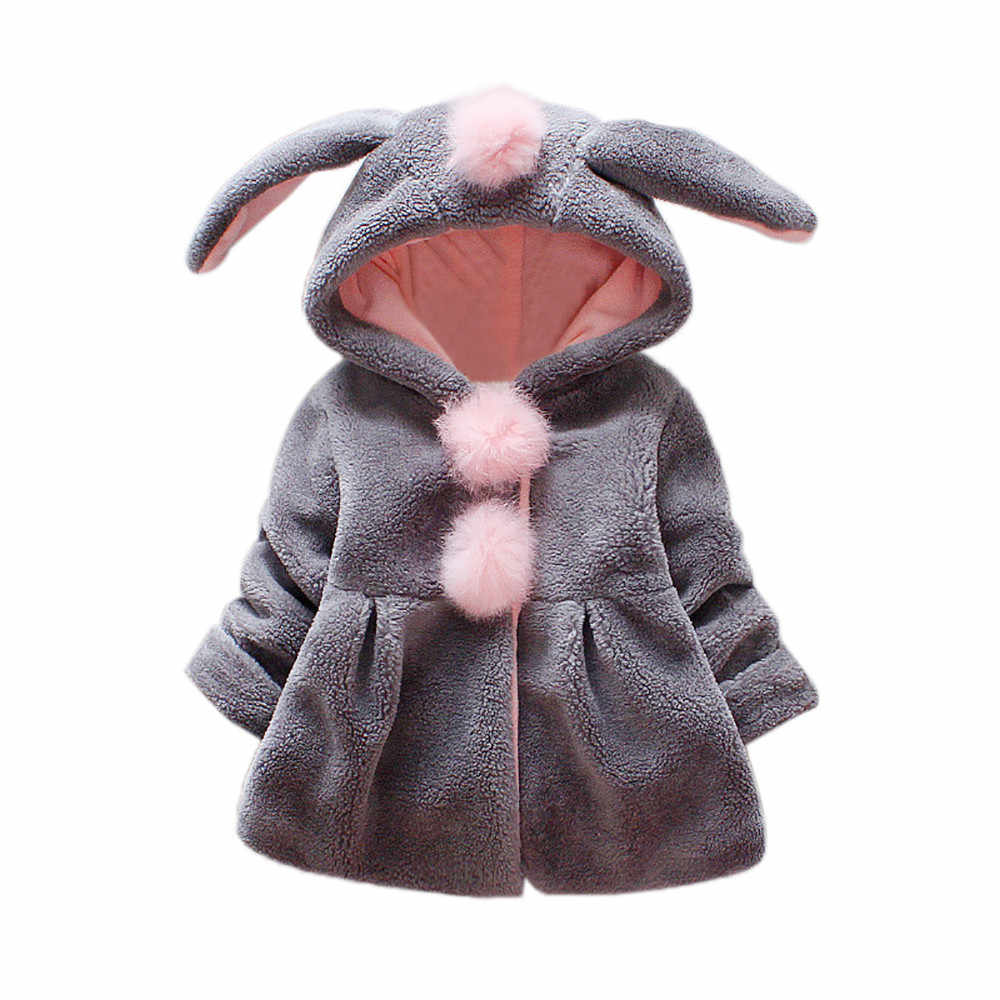Baby Girl Winter Cloak Clothes Fashion Solid Rabbit Ears Hooded  Newborn Baby Warm Snowsuit Baby Girl Winter Coat Snow Clothes