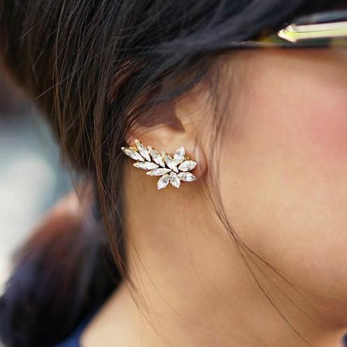 New Fashion Flowers Single Girl Ear cuff Earrings ...