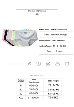8Pcs Briefs for Women fashion sexy woman panties Solid seamless underpants  cpanties for women cotton underwear girl knickers 6