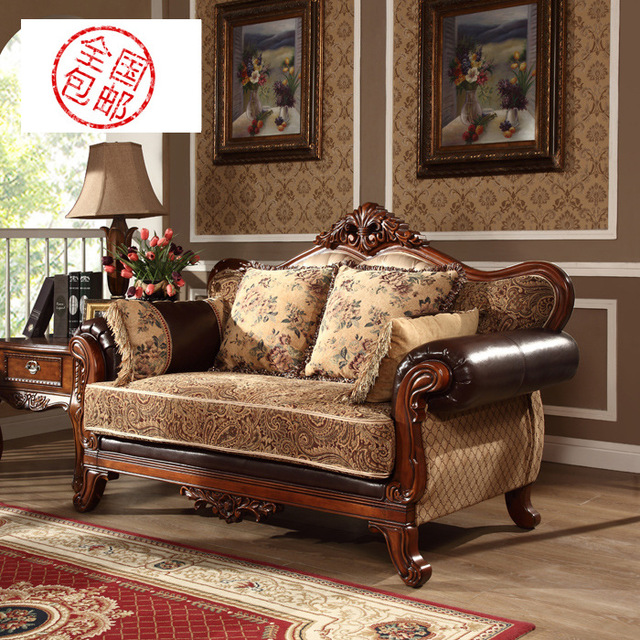 Leather Or Fabric Sofa For Family Room Crushed Velvet Corner Dfs An American Country The Of Solid Wood Furniture Combination Living European Style Retro Shi
