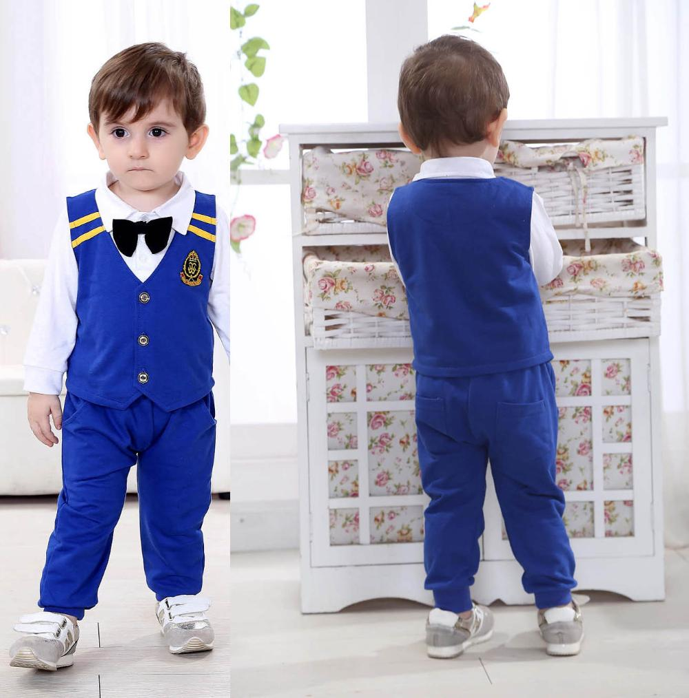 Little Gentleman Baby Boy Wedding Suit Formal Boys Bule Color Clothing Sets Long Sleeve Vest Tie Bow Two Pieces Cotton In From