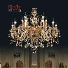 Envío Gratis 15 Armas araña de cristal de Luz Moderna Lámpara de cristal de Iluminación de la lámpara de Cristal de champán de Lujo Superior K9