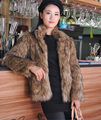 Горячая распродажа зима мода женщины искусственной фокс шубы, Мандарин воротник браун пальто, Тонкий роскошные толстые теплые куртки Большой размер