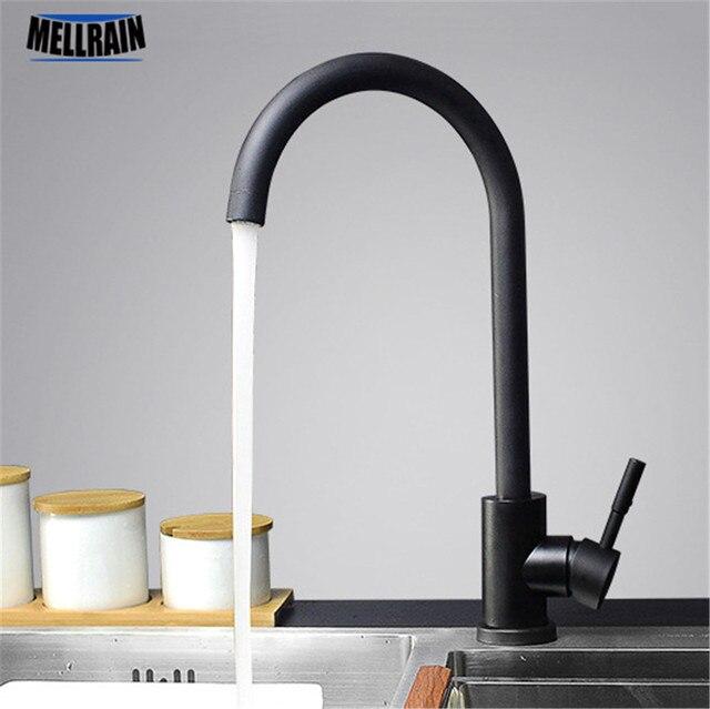 Черный и белый цвет 304 кухонный смеситель из нержавеющей стали с двойным поворотом для раковины кухонный водоразборный кран
