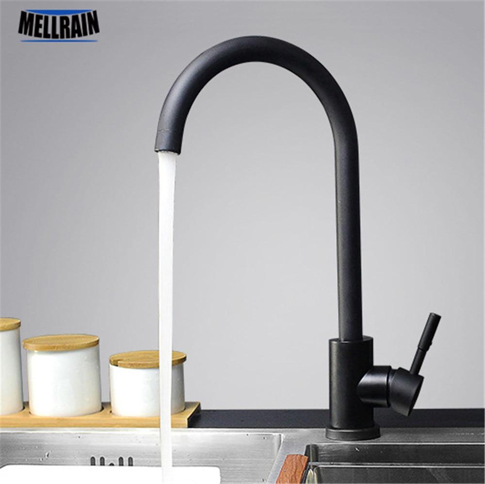 Couleur noir et blanc 304 robinet de cuisine en acier inoxydable mélangeur double évier rotation robinet d'eau de cuisine