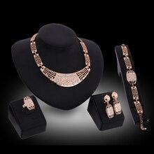 Conjuntos de jóias Para As Mulheres Anéis de Casamento Colar Pulseira Imitação Brincos de Cristal Acessórios de Presente