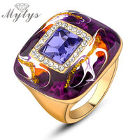 Purple Blue Color Women Rings Fashion 18K Gold Plated Wholesale Jewelry R931