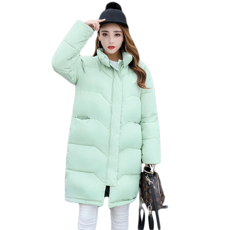 New Style 2017 Women Fashion Loose Casual Cotton-padded Jacket Girls Sweet Long Stand Collar Thick Warm Bread Coat Parkas CM9189 qazxsw 2017 new winter cotton coats women padded jacket for girls thick loose warm outwear stand collar casual long parkas hb251