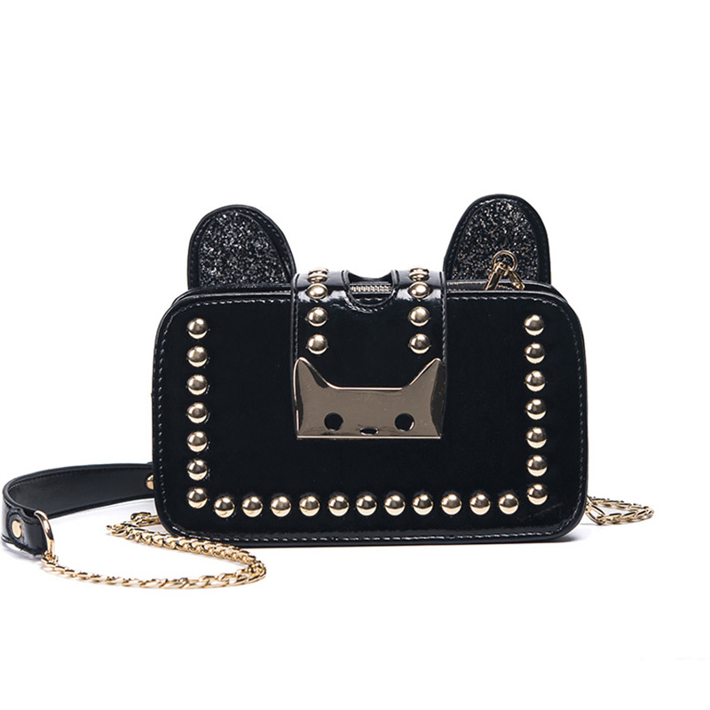 Rivet Small Flap Women Crossbody Bags Wide Shoulder Chain Messenger Bag Cat Lock Buckle Pu Leather Diamond Messenger Bag waterproof nfc tags lable ntag213 13 56mhz rfid smart card for all nfc enabled phone min 1pcs