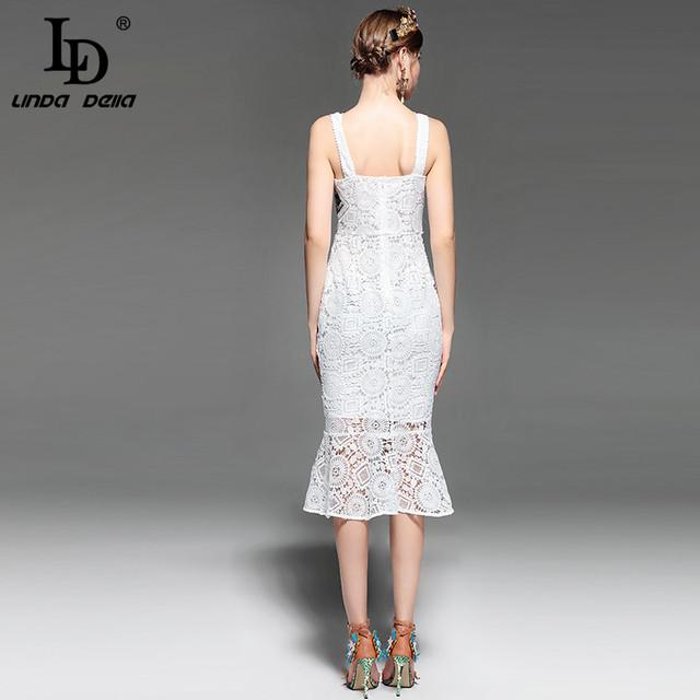 Spaghetti Strap Hollow out Backless Elegant White Lace Bodycon Dress