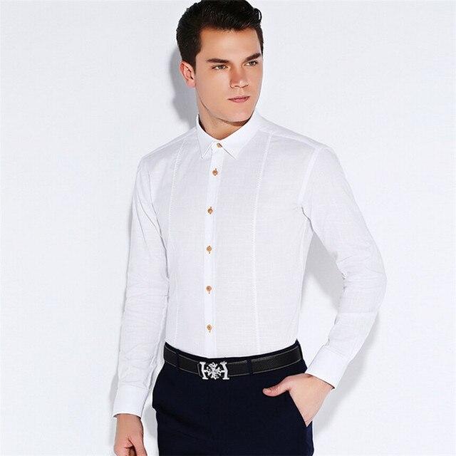 Мужчины 100% хлопок С Длинным Рукавом Дизайнерский Бренд Бизнес Рубашки Платья MC258 S-4XL
