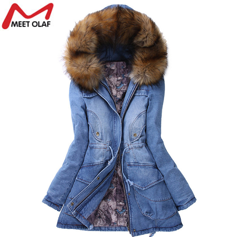 Подробнее о New Winter Coat Women Big Faux Fur Hooded Thick Warm Outwear Fashion Casual Denim Jackets Long Cotton Padded Jeans Parkas YL457 new winter jacket men cotton parkas padded long black thick warm casual hooded fur collar jacket coat outwear zipper jackets