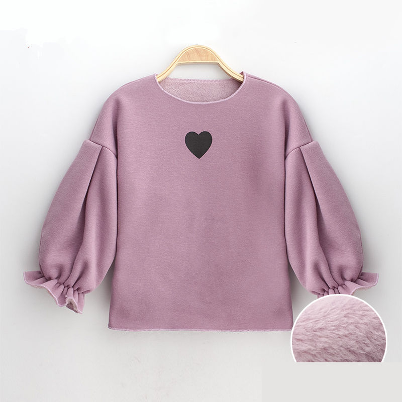 Floral Puff Sleeve Design Baby Girls Sweatshirt Winter Inner Velvet