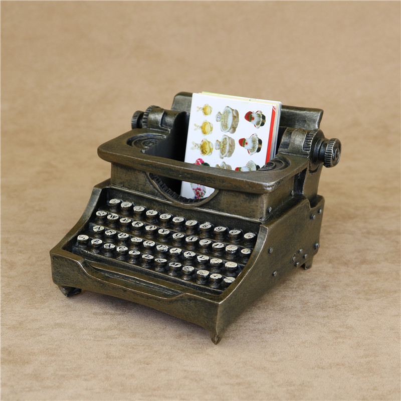 Creative Typewriter Model Pen Holder Decorative Resin Vintage ...